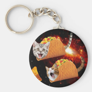 Taco Cats Space Basic Round Button Key Ring