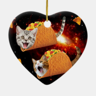 Taco Cats Space Ceramic Heart Decoration