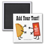 Taco & Hot Sauce - Customisable Square Magnet