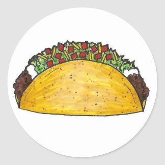 Taco Mexican Food Foodie Hard Shell Corn Tacos Round Sticker