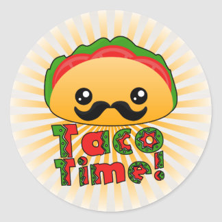 Taco Time Round Sticker