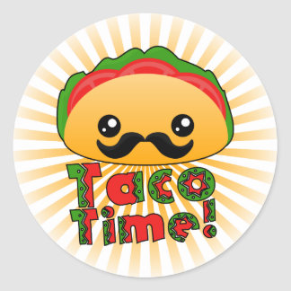 Taco Time Round Sticker