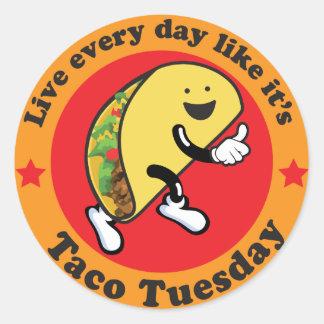 Taco Tuesday Every Day Round Sticker