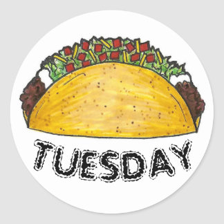 TACO TUESDAY Mexican Tex Mex Food Tacos Foodie Round Sticker