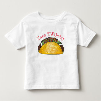 Taco TWOsday Tuesday 2 Two Year Old Birthday Party Toddler T-Shirt