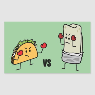 Taco vs burrito rectangular sticker