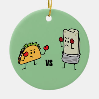 Taco vs burrito round ceramic decoration