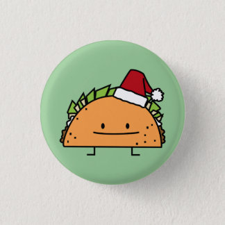 Taco wearing Santa Hat Christmas shell meat salsa 3 Cm Round Badge