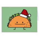 Taco wearing Santa Hat Christmas shell meat salsa Card