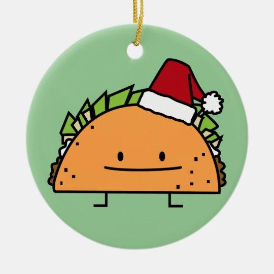 Taco wearing Santa Hat Christmas shell meat salsa