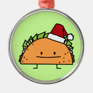 Taco wearing Santa Hat Christmas shell meat salsa Christmas Ornament