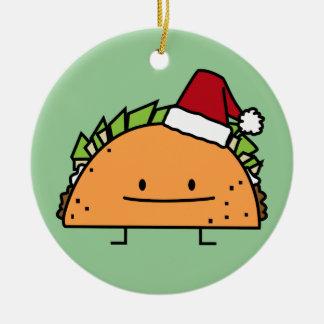 Taco wearing Santa Hat Christmas shell meat salsa Christmas Ornament