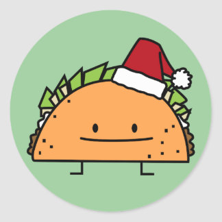 Taco wearing Santa Hat Christmas shell meat salsa Classic Round Sticker