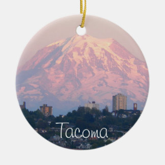 Tacoma and Mount Rainier Photo Ceramic Ornament