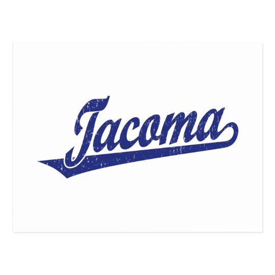 Tacoma script logo in blue distressed postcard