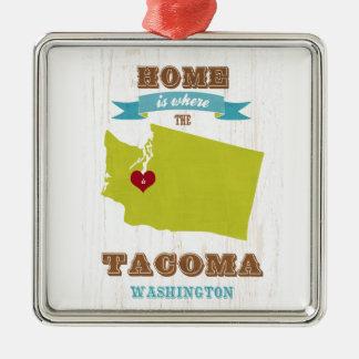 Tacoma,Washington Map – Home Is Where The Heart Is Christmas Ornament