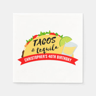 Tacos and Tequila Birthday Party Paper Napkin