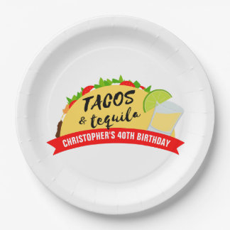 Tacos and Tequila Birthday Party Paper Plate