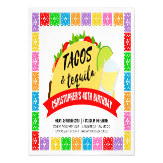 Tacos and Tequila Party Magnetic Card