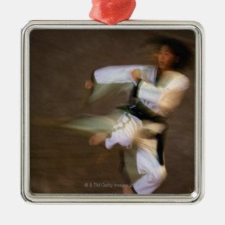 Tae Kwon Do Leap Kick Silver-Colored Square Decoration