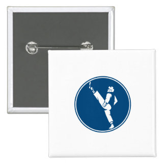Taekwondo Fighter Kicking Stance Circle Icon 15 Cm Square Badge