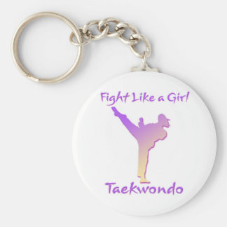 Taekwondo Girl Basic Round Button Key Ring