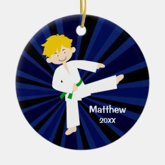 Taekwondo Green Belt Blonde Boy Personalized Christmas Ornament