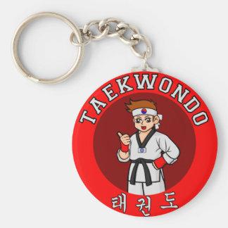 taekwondo guy badge 1 basic round button key ring