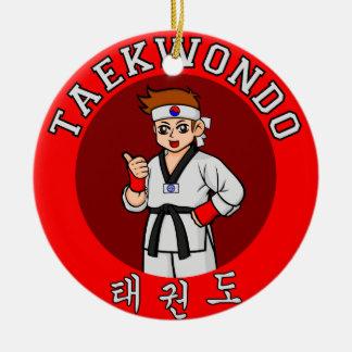 taekwondo guy badge 1 round ceramic decoration