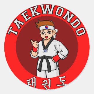 taekwondo guy badge 1 round sticker