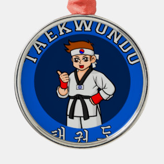 taekwondo guy badge christmas ornament