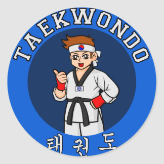 taekwondo guy badge classic round sticker