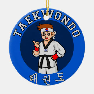 taekwondo guy badge round ceramic decoration