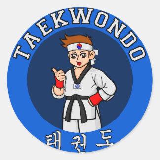 taekwondo guy badge round sticker