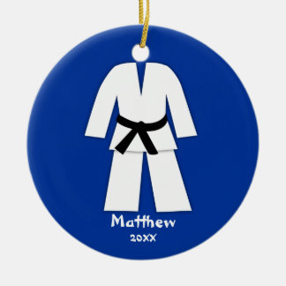 Taekwondo Karate Black Belt Blue Personalized Round Ceramic Decoration
