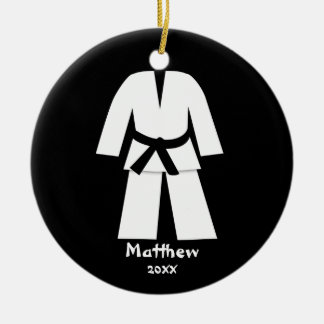 Taekwondo Karate Black Belt Personalized Christmas Ornament