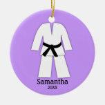 Taekwondo Karate Black Belt Purple Personalised Round Ceramic Decoration