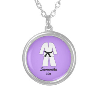 Taekwondo Karate Black Belt Purple Personalized Silver Plated Necklace