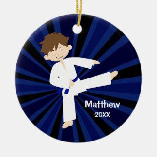 Taekwondo Karate Blue Belt Boy Personalized Round Ceramic Decoration