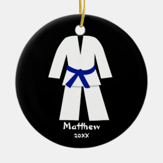 Taekwondo Karate Blue Belt Personalized Christmas Ornament