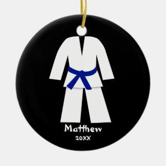 Taekwondo Karate Blue Belt Personalized Round Ceramic Decoration
