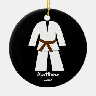 Taekwondo Karate Brown Belt Personalized Round Ceramic Decoration