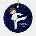 Taekwondo Karate Green Belt Boy Personalised Christmas Ornament
