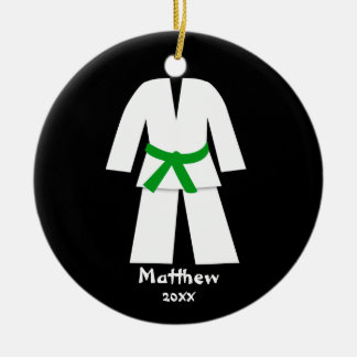 Taekwondo Karate Green Belt Personalized Round Ceramic Decoration