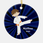 Taekwondo Karate Orange Belt Boy Personalised Round Ceramic Decoration