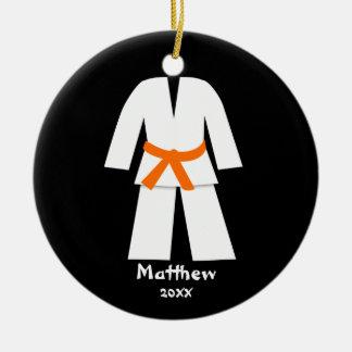Taekwondo Karate Orange Belt Personalized Round Ceramic Decoration
