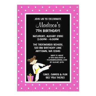 Taekwondo Karate Pink Stars Girl Birthday 13 Cm X 18 Cm Invitation Card
