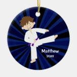 Taekwondo Karate Purple Belt Boy Personalised Round Ceramic Decoration