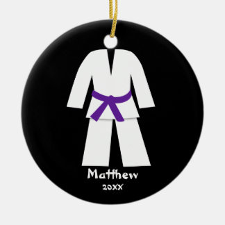 Taekwondo Karate Purple Belt Personalized Christmas Ornament