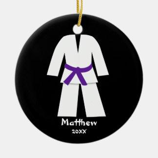 Taekwondo Karate Purple Belt Personalized Round Ceramic Decoration